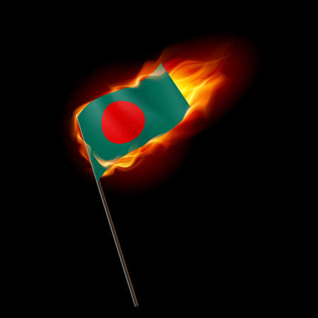 Flag of Bangladesh. Concept Illustration of Crisis or War Conflict with Bangladeshi flag