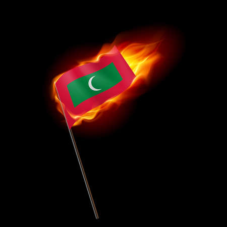 Flag of Maldives. Concept Illustration of Crisis or War Conflict with Maldivian flag