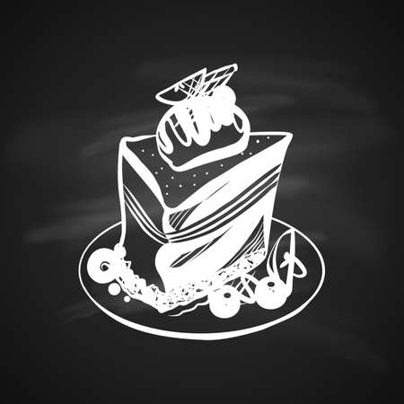 Hand Drawn Chalk Sketch on Blackboard Black and White Cake Piece Vintage Sketch. Great for Banner, Label, Poster