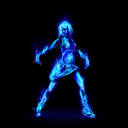Dancing Girl Made of Blue Fire on Black Background