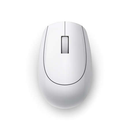 White Realistic Wireless Computer Mouse. Top View Technology Concept. Matte Finish Soft Touch on White Background