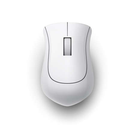 White Realistic Wireless Computer Mouse. Top View Technology Concept. Matte Finish Soft Touch