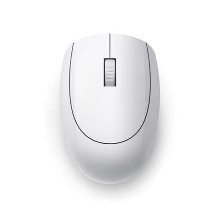 White Realistic Wireless Computer Mouse. Top View. Matte Finish Soft Touch on White Ilustração
