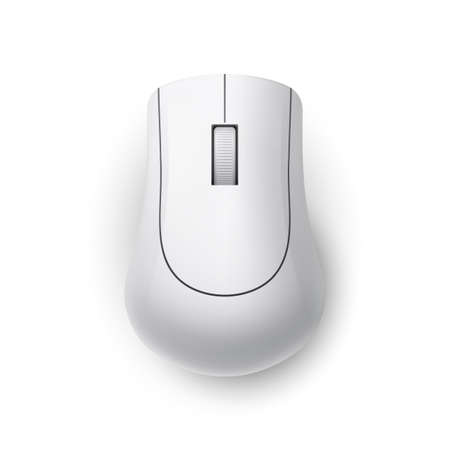 White Realistic Wireless Computer Mouse. Top View Technology Concept. Matte Finish Soft Touch on White