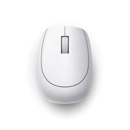 White Realistic Wireless Computer Mouse. Top View. Matte Finish Soft Touch on White Background Ilustração