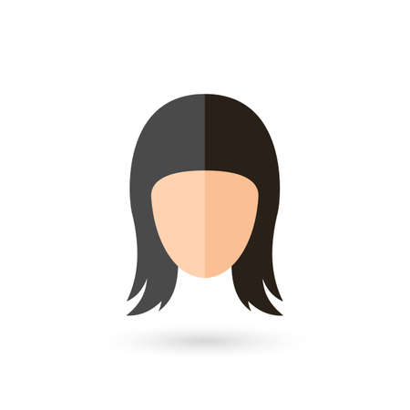 Woman Faceless Head Avatar Icon with Black Hairstyle. Isolated and Flat Illustration with Shadow Vectores