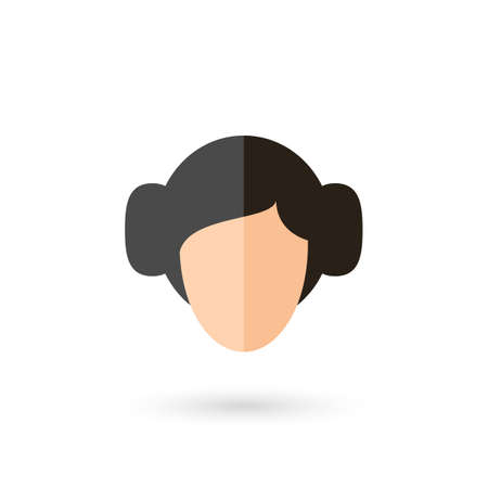 Woman Faceless Person Head Avatar Icon with Black Hairstyle. Isolated Illustration with Shadow Illustration