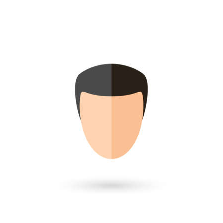 Male Faceless Person Avatar Icon with Black Hairstyle. Isolated and Illustration with Shadow