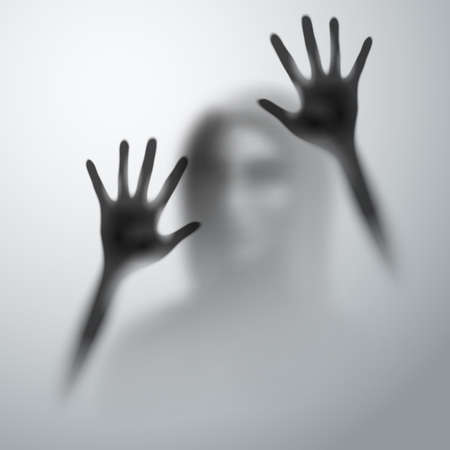 Shadow of a Woman Behind the Matte Glass Blurry Hand and Body Figure Abstraction