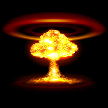 Atomic, Nuclear, or Hydrogen Bomb Realistic Explosion Causing Shock Waves in Yellow Color on Black Background for Game Design