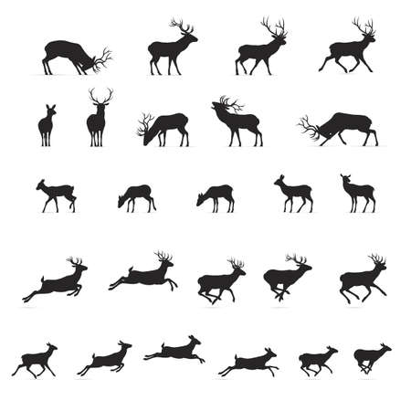 Illustration of Black Deers Silhouettes Isolated on White Background