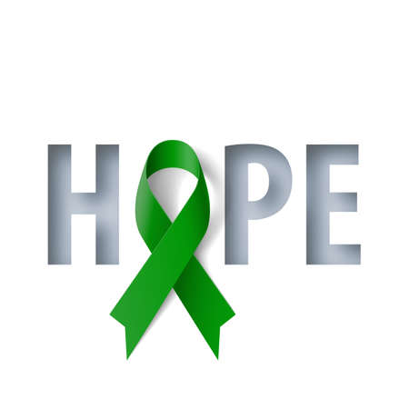Banner with Hope Lettering and Symbol of Liver Cancer Awareness Realistic Ribbon. Design Template for Info-graphics or Websites Magazines Ilustracja
