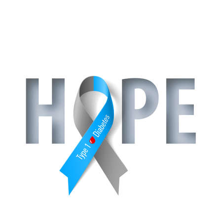 Banner with Hope Lettering and Symbol of Diabetes Type One Awareness Realistic Ribbon. Design Template for Info-graphics or Websites Magazines on Gray Background