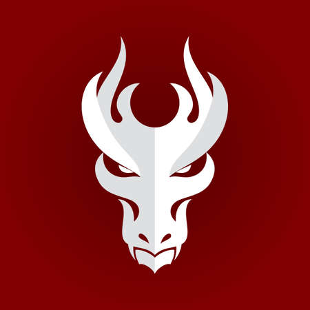 White Dragon Head Icon. Filled Flat Sign, Solid   Design Template. Illustration on Red Background