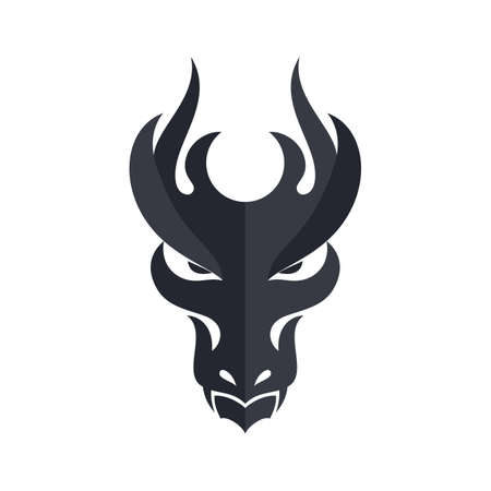 Black Dragon Head Icon. Filled Flat Sign, Solid Design Template. Illustration on White Background