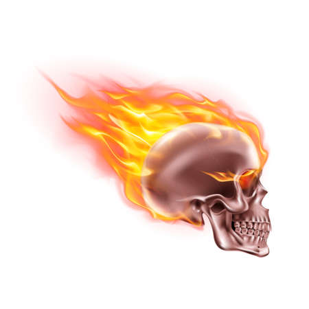 Pink Skull on Fire with Flames. Illustration of Speeding Flaming Skull from the Side on White Background