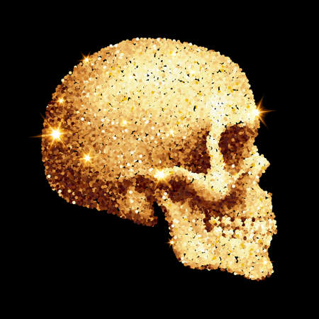 Abstract Sparkling Skull of Golden Glitter on Black Background Illustration