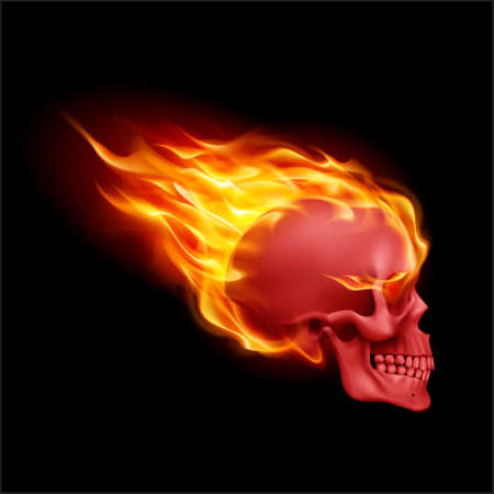 Red Skull on Fire with Flames. Illustration of Speeding Flaming Skull from the Side on Black Background