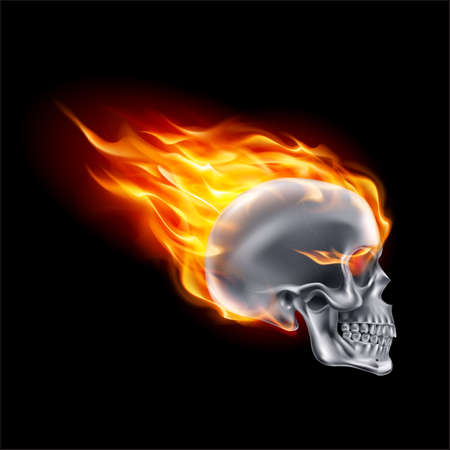 Metallic Skull on Fire with Flames. Illustration of Speeding Flaming Skull from the Side on Black Background