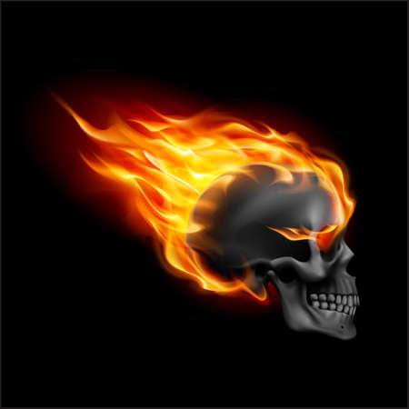 Schwarzer Schädel in Flammen mit Flammen. Illustration von Speeding Flaming Skull von der Seite auf schwarzem Hintergrund Speed