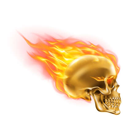 Golden Skull on Fire with Flames. Illustration of Speeding Flaming Skull from the Side on White Background Çizim
