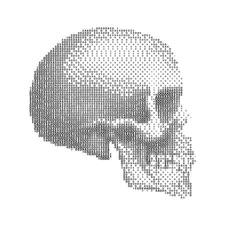 Abstract Human Skull with Dotted Halftone. Illustration for Medicine, Science or for a Game Design on White Background