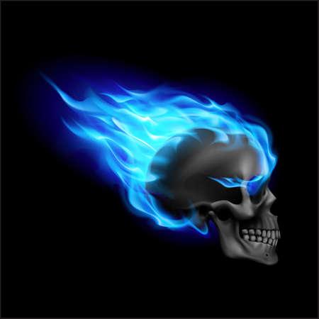 Zwarte schedel op blauw vuur met vlammen. Illustratie van snel rijdende vlammende schedel vanaf de zijkant op zwarte achtergrond