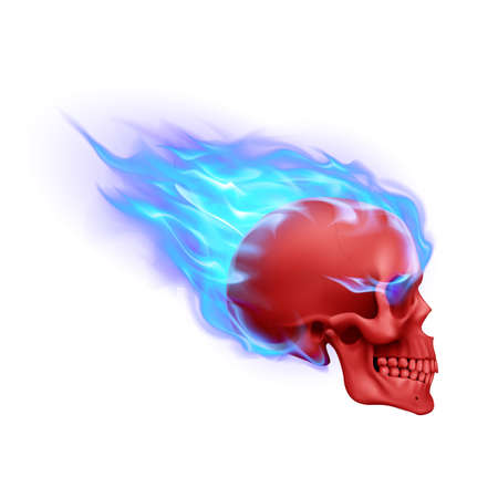 Red Skull on Blue Fire with Flames. Illustration of Speeding Flaming Skull from the Side on White Background