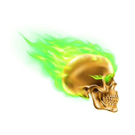 Golden Skull on Green Fire with Flames. Illustration of Speeding Flaming Skull from the Side on White Background