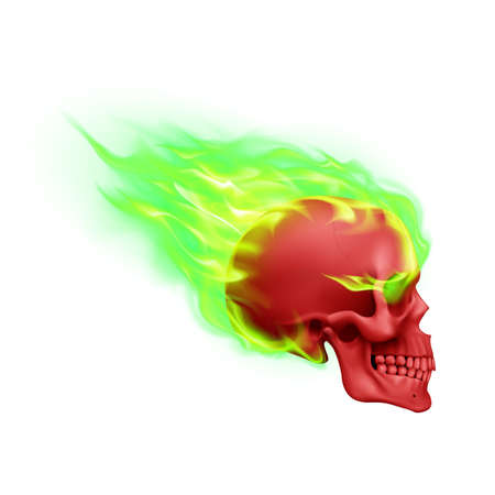 Red Skull on Green Fire with Flames. Illustration of Speeding Flaming Skull from the Side on White Background