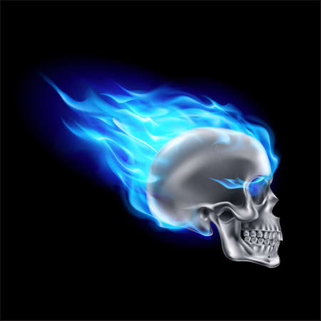Silver Skull on Blue Fire with Flames. Illustration of Speeding Flaming Skull from the Side on Black Background