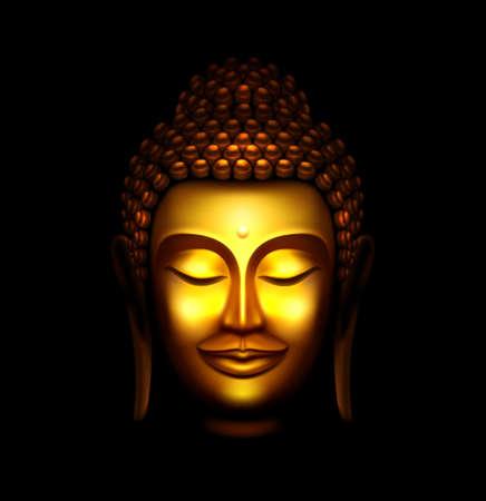 Illustration du visage de Bouddha d'or souriant sur un fond noir