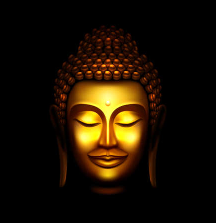 Illustration of Smiling Golden Buddha Face Against a Black Background
