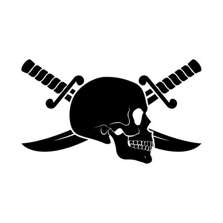 Black Skull Side View with Crossed Sabers Behind It. Illustration of Pirate Symbol Vettoriali