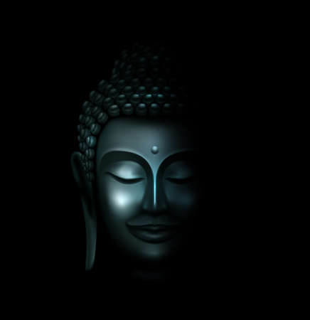 Illustration of Silver Buddha Face in the Dark and Light Illuminated