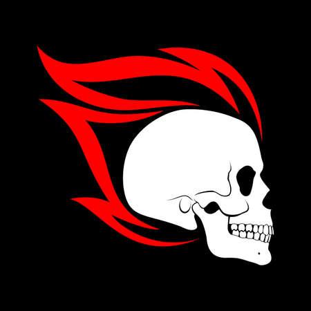 Burning Skull Profile Design Element on Black