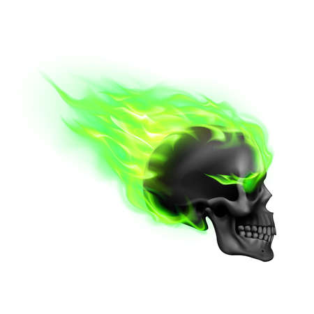 Black Skull on Green Fire with Flames. Illustration of Speeding Flaming Skull from the Side on White Background Vettoriali