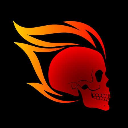 Red Burning Skull Profile Design Element on Background Ilustração