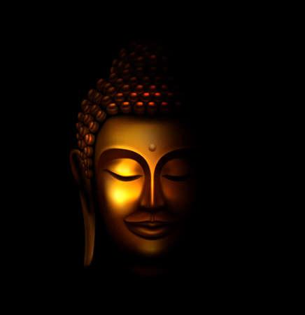 Illustration du visage de Bouddha doré souriant dans l'obscurité et la lumière illuminée