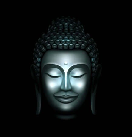 Illustration of Smiling Silver Buddha Face Against a Black Background