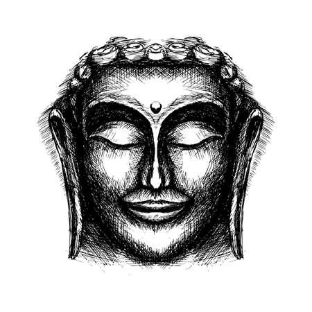 Hand Drawn Illustration of Smiling Buddha Face Against on White Background Ilustração