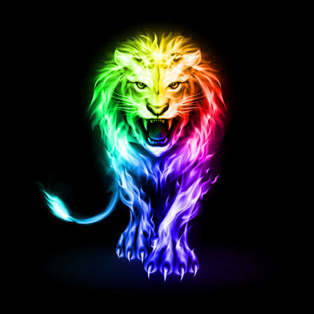 Abstract Illustration of Infuriated Lion with Rainbow Fire Flames Fur on Black 向量圖像