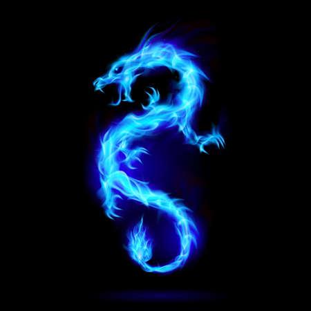 Ilustración del dragón chino de fuego azul, símbolo de la sabiduría y el poder sobre fondo negro Ilustración de vector