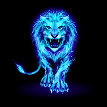 Abstract Illustration of Infuriated Lion with Blue Fire Flames Fur on Black