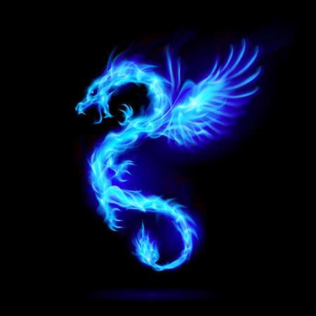Ilustración del dragón chino de fuego azul con alas, símbolo de sabiduría y poder en negro Ilustración de vector