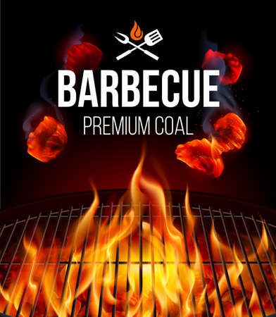 Actively Smoldering Embers of Fire for BBQ Grill with Smoke and Fire on Black
