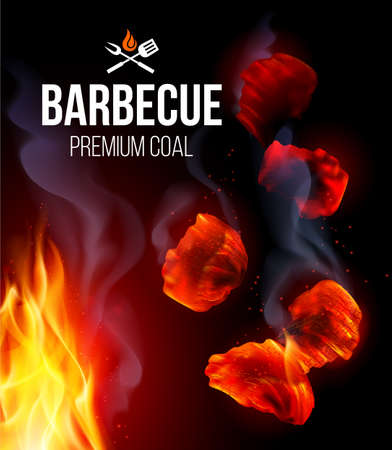 Actively Smoldering Embers of Fire for BBQ Grill with Smoke and Fire on Black Background