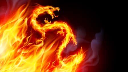 Dragón de fuego con efecto de llamas sobre fondo negro