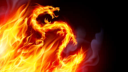 Fire Dragon with Flames Effect on Black Background  イラスト・ベクター素材