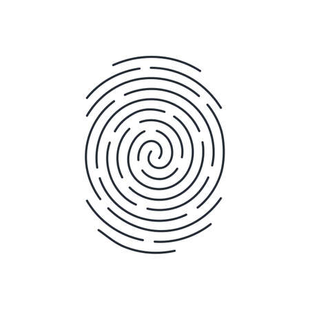 Fingerprint Icon Detailed for Simple Identity Person Security ID on White Background